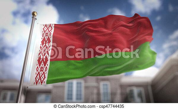 Belarus Flag 3D Rendering on Blue Sky Building Background - csp47744435