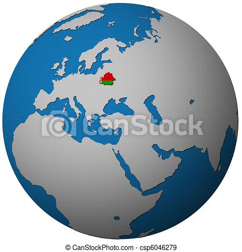 belarus flag on globe map - csp6046279