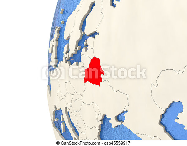 Belarus on 3D globe - csp45559917