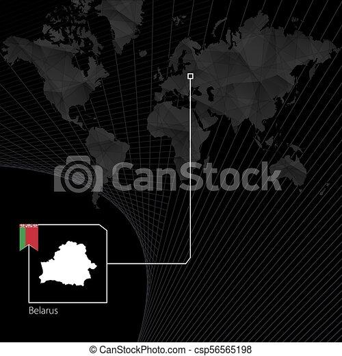 Belarus on black World Map. Map and flag of Belarus. - csp56565198
