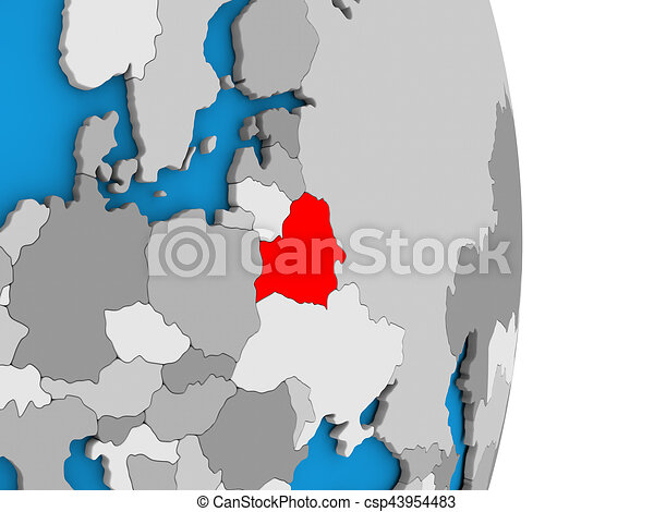 Belarus on globe - csp43954483