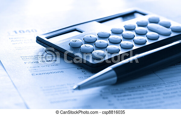 belasting, rekenmachine, pen, vorm - csp8816035