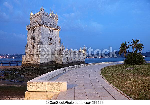 Belem Tower (Torre de Belem) at dusk. Lisbon, Portugal - csp4266156