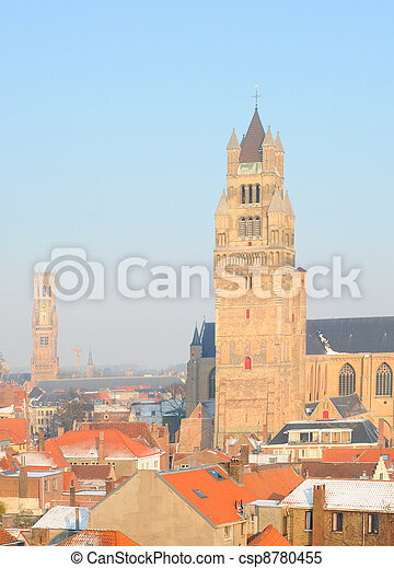 Belfry, cathedral and roofs in winter in Bruges, Flanders, Belgium, Europe - csp8780455