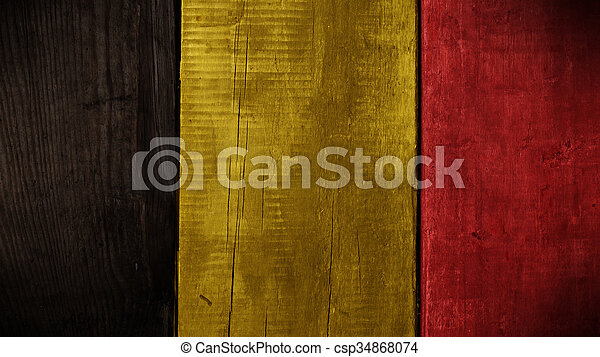 Belgian flag on wood - csp34868074