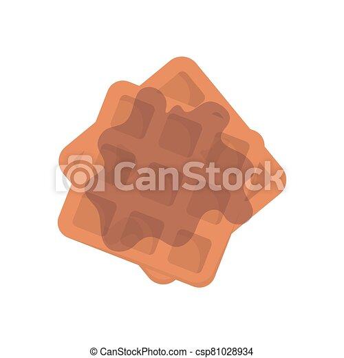 Belgian Waffle with honey on white background. Stock Vector illustration. - csp81028934