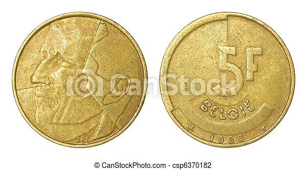 belgien, mynt, sällsynt, retro - csp6370182