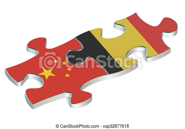Belgium and China puzzles from flags - csp32877618