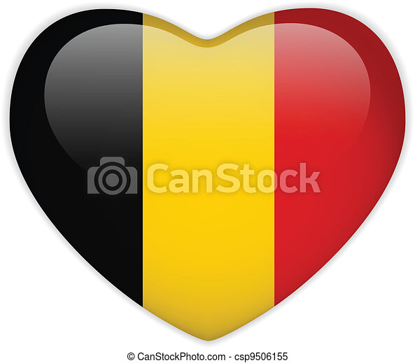 Belgium Flag Heart Glossy Button - csp9506155