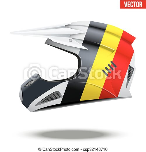 Belgium Flag on Motorcycle Helmets - csp32148710