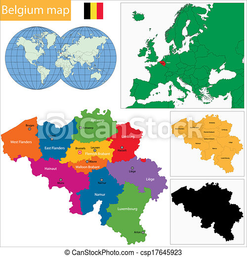 Colorful belgium map with provinces and main cities vector