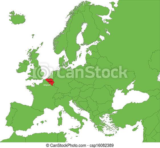 Belgium Terkep Belgium Europa Elhelyezes Szarazfold