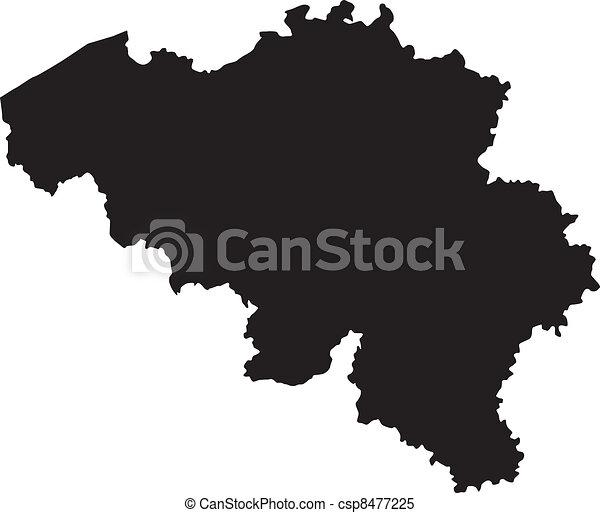 belgium, térkép, vektor, ábra - csp8477225