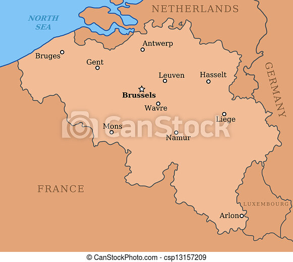Map Of France And Belgium With Cities.Belgium Map With Major Cities Brussels Mons Antwerp Liege And