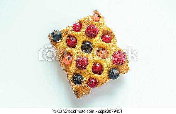 Belgium waffle with fresh berries - csp20879451