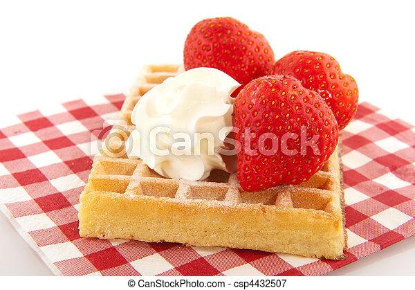 Belgium waffle with fruit - csp4432507