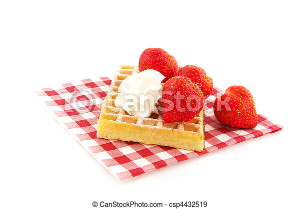 Belgium waffle with fruit - csp4432519
