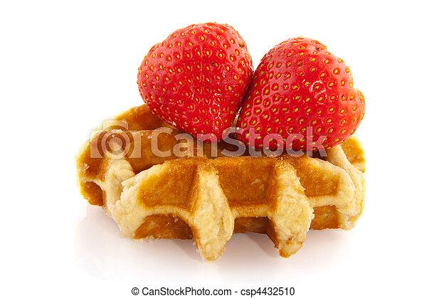 Belgium waffle with fruit - csp4432510