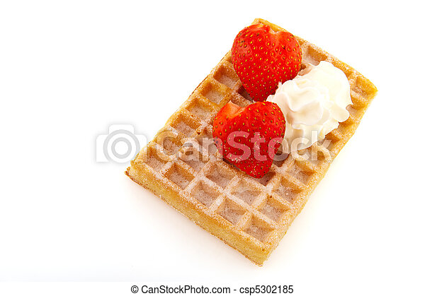 Belgium waffle with strawberries - csp5302185
