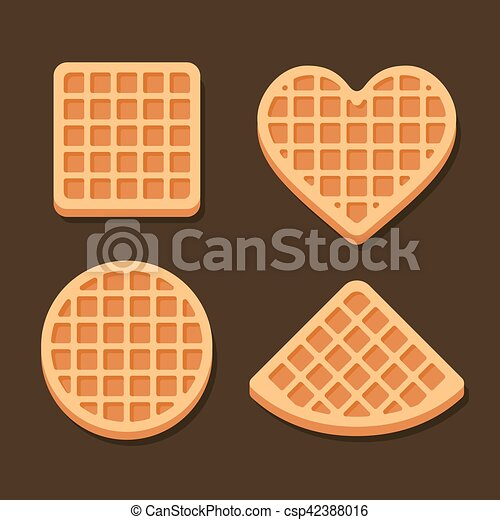 Belgium Waffles Icon Set on Dark Background. Vector - csp42388016