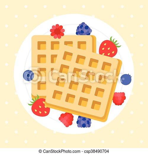 Belgium waffles with berries - csp38490704