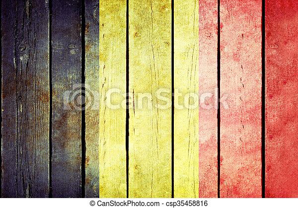 Belgium wooden grunge flag - csp35458816