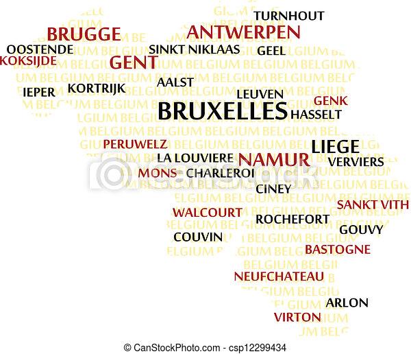 belgium word cloud map csp12299434