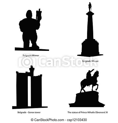 La ilustración más famosa del vector de la estatua de Belgrado - csp12103430