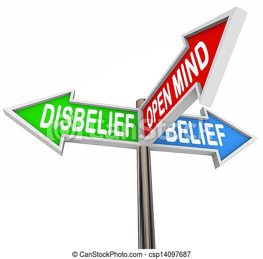 Belief Vs Disbelief Open Mind Faith Three Way Street Road Signs - csp14097687