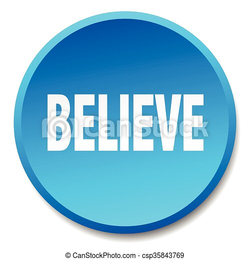 believe blue round flat isolated push button - csp35843769