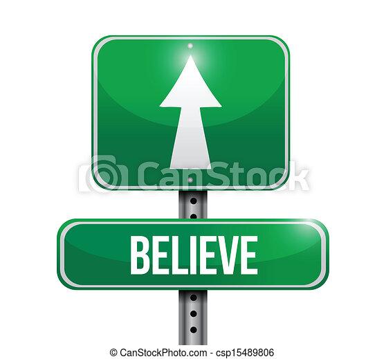 believe road sign illustration design - csp15489806
