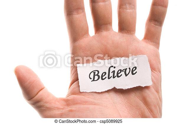 Believe word in hand - csp5089925