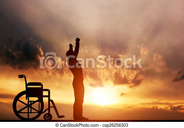 beliggende, wheelchair., medicinsk, kur, oppe, disabled, miracle., mand - csp26256303