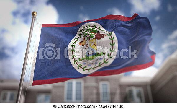 Belize Flag 3D Rendering on Blue Sky Building Background - csp47744438