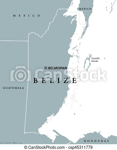 Belize political map with capital belmopan and national borders ...