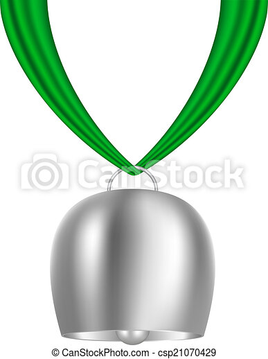 bell hanging on piece of cloth cowbell hanging on green vector rh canstockphoto com msu cowbell clipart more cowbell clipart