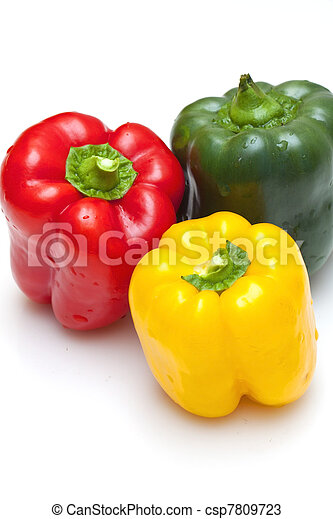 Bell peppers (green, yellow and red) isolated on white background - csp7809723