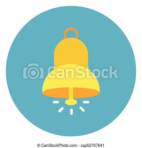 Bell Ringing Icon Web Button On Round Blue Background - csp52767641