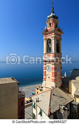 bell tower in Sori, italy - csp9484327