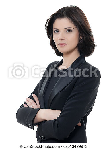 bella donna, affari, isolato, braccia, serio, studio, fondo, ritratto, attraversato, bianco, uno, caucasico - csp13429973