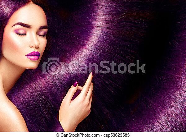 bella donna, bellezza, diritto, capelli lunghi, brunetta, fondo, hair., rosso - csp53623585