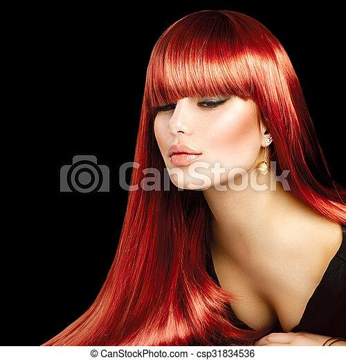 bella donna, diritto, liscio, capelli lunghi, sexy, baluginante - csp31834536
