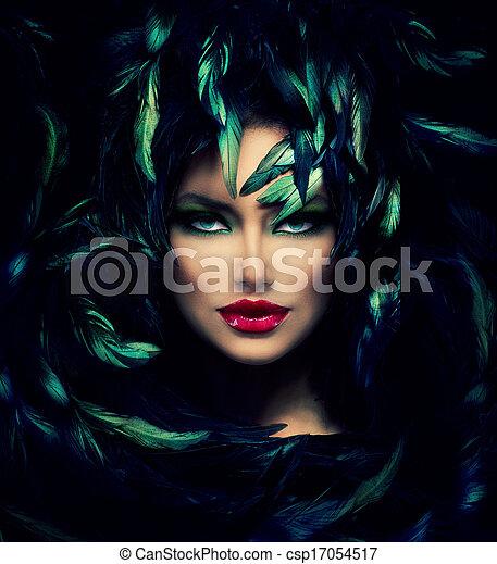 bella donna, faccia, portrait., misterioso, closeup, modello - csp17054517