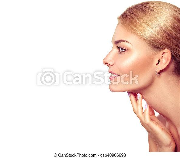 bella donna, lei, bellezza, faccia, toccante, portrait., terme, biondo - csp40906693
