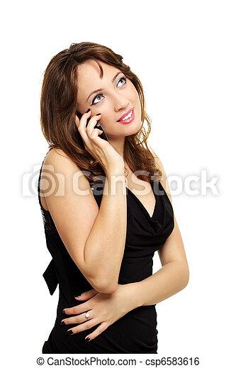 bella donna, parlare, mobile, giovane, telefono - csp6583616