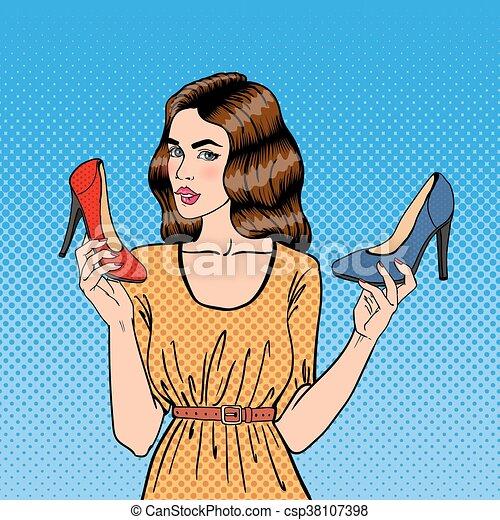 bella donna, shoes., scarpe, giovane, pop, vettore, illustrazione, scegliere, ragazza, art. - csp38107398