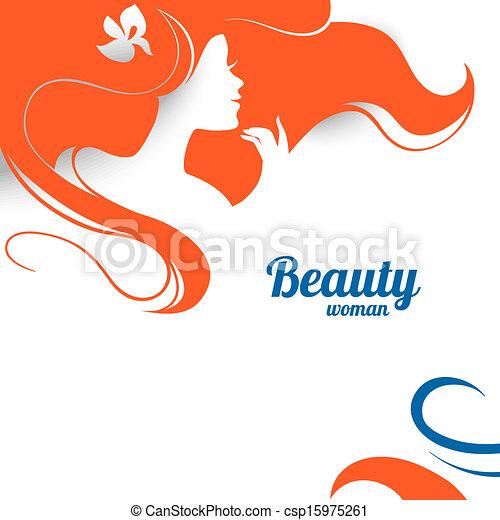 bella donna, silhouette., carta, progetto moda - csp15975261