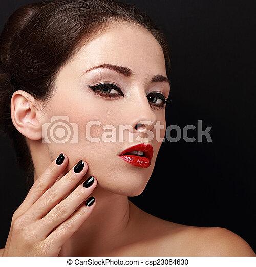 bella donna, trucco, faccia, dall'aspetto, luminoso, closeup, sexy. - csp23084630