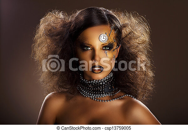belle femme, art, face montre, fantasy., keys., argent, bronze - csp13759005