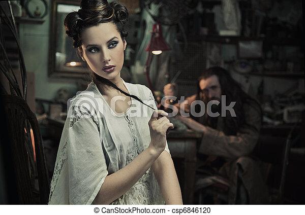 belle femme, art, photo, bête, amende - csp6846120